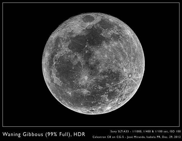 Waning Gibbous (99% Full), HDR